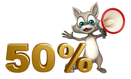 loud speaker: 3d rendered illustration of Raccoon cartoon character with 50% sign and loud speaker