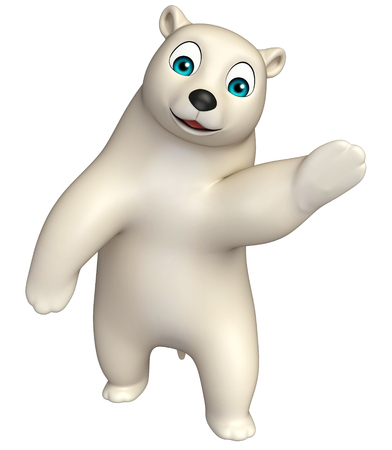hunny: 3d rendered illustration of pointing  Polar bear cartoon character