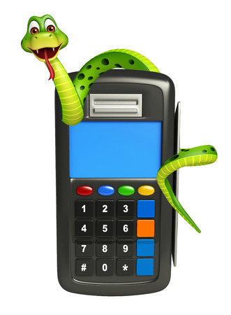 3d snake: 3d rendered illustration of Snake cartoon character with swap machine