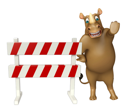 zoo traffic: 3d rendered illustration of Rhino cartoon character with baracade Stock Photo