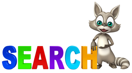 3d rendered illustration of Raccoon cartoon character with search sign