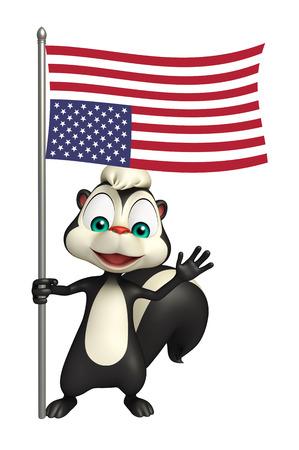 zorrillo: 3d rindió la ilustración de personaje de dibujos animados con la bandera de la mofeta Foto de archivo