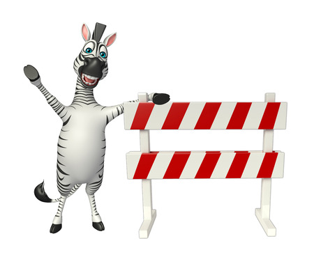 constuction: 3d rendered illustration of Zebra cartoon character with   baracade