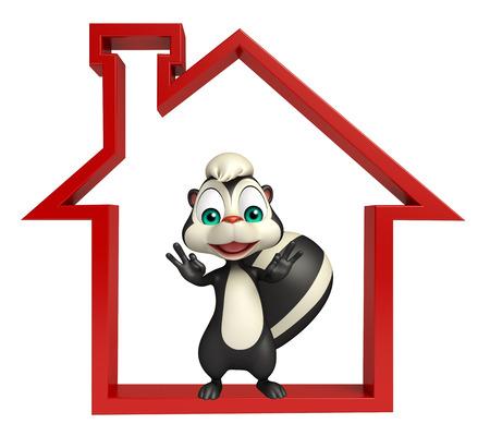 mofeta: 3d rindió la ilustración de personaje de dibujos animados de la mofeta con el signo de la casa