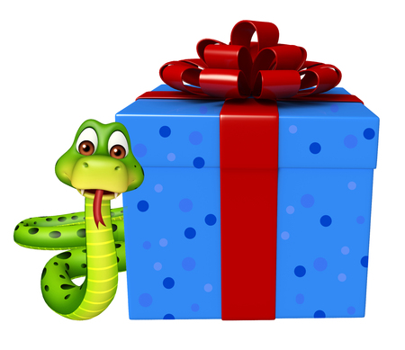 christmas present: 3d rendered illustration of Snake cartoon character with giftbox Stock Photo