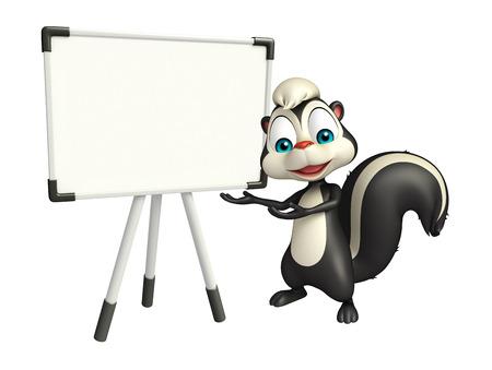 mofeta: 3d rindi� la ilustraci�n de personaje de dibujos animados de la mofeta con placa de la pantalla