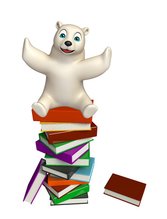 3d rendered illustration of Polar bear cartoon character with books