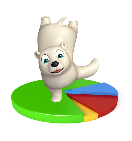 hunny: 3d rendered illustration of Polar bear cartoon character with circle sign
