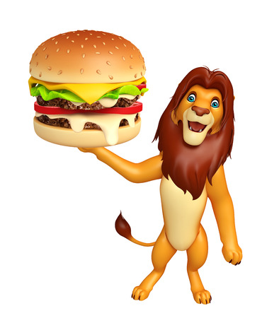 3d lion: 3d rendered illustration of Lion cartoon character with burger