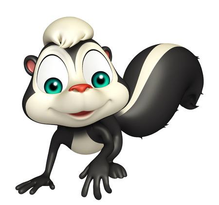 skunk: 3d rendered illustration of walking Skunk cartoon character Stock Photo