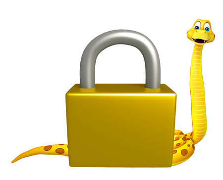 3d snake: 3d rendered illustration of Snake cartoon character with lock