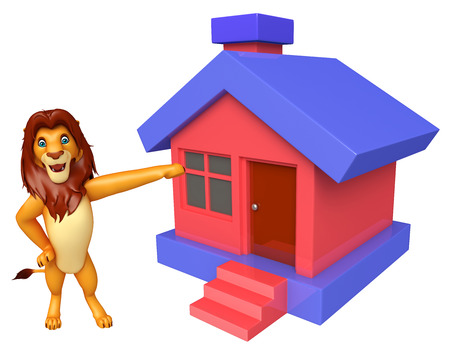 3d lion: 3d rendered illustration of Lion cartoon character with home