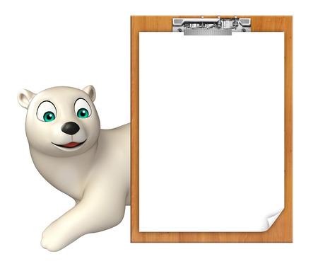 hunny: 3d rendered illustration of Polar bear cartoon character with exam pad Stock Photo