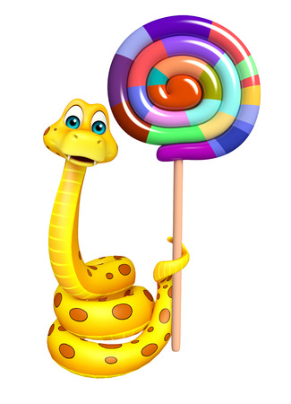 lollypop: 3d rendered illustration of Snake cartoon character  with lollypop
