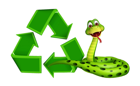 wildlife conservation: 3d rendered illustration of Snake cartoon character with recycle