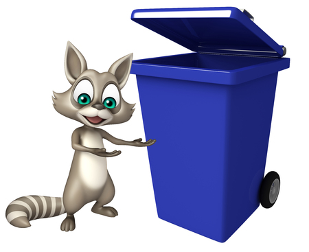 dustbin: 3d rendered illustration of Raccoon cartoon character with dustbin Stock Photo
