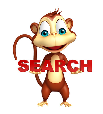 3d rendered illustration of Monkey cartoon character with search