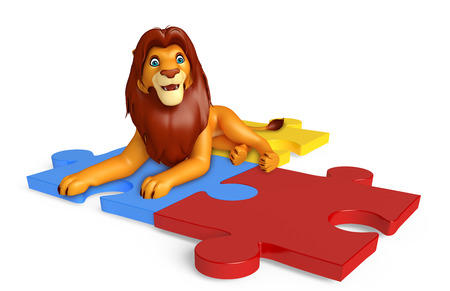 3d lion: 3d rendered illustration of Lion cartoon character with puzzle Stock Photo