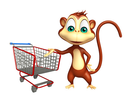 trolly: 3d rendered illustration of Monkey cartoon character with trolly Stock Photo