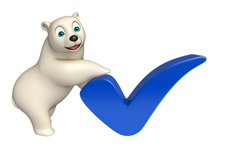 hunny: 3d rendered illustration of Polar bear cartoon character with right sign