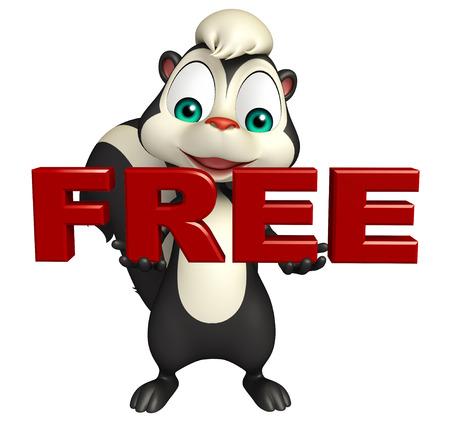 mofeta: 3d rindió la ilustración de personaje de dibujos animados de la mofeta con signo libres