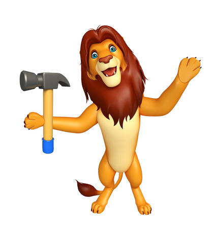 iron fun: 3d rendered illustration of Lion cartoon character with hammer Stock Photo