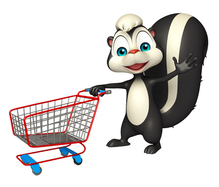 trolly: 3d rendered illustration of Skunk cartoon character with trolly