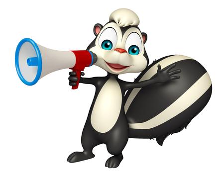 loud speaker: 3d rendered illustration of Skunk cartoon character with loud speaker