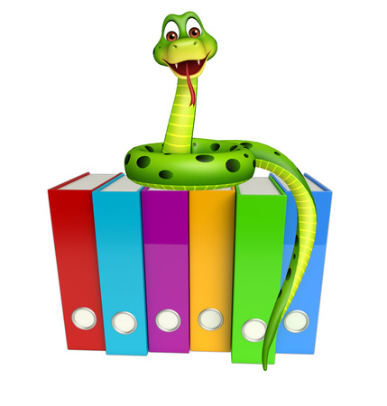 3d snake: 3d rendered illustration of Snake cartoon character with files