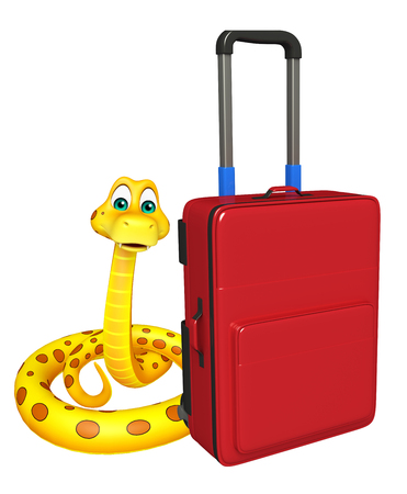 a snake in a bag: 3d rendered illustration of Snake cartoon character with travel bag