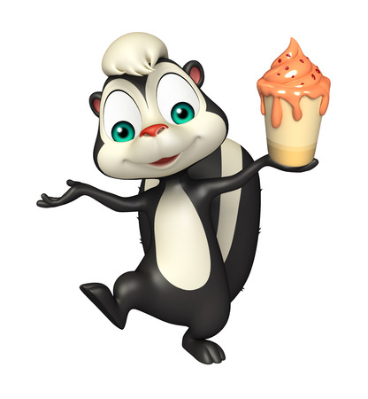 icecream: 3d rendered illustration of Skunk cartoon character with ice-cream Stock Photo