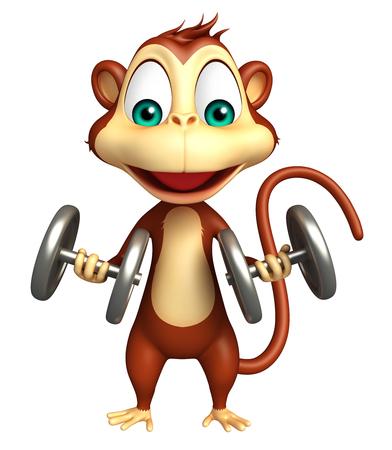 iron fun: 3d rendered illustration of Monkey cartoon character Stock Photo