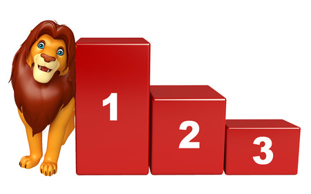 3d lion: 3d rendered illustration of Lion cartoon character with level Stock Photo