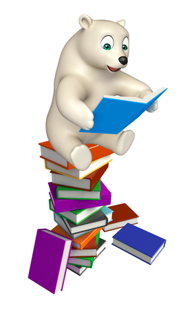 hunny: 3d rendered illustration of Polar bear cartoon character with books