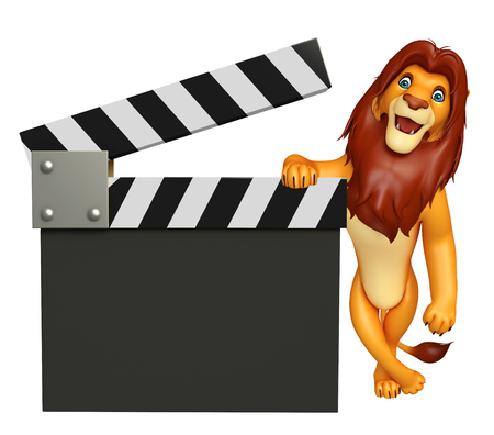3d lion: 3d rendered illustration of Lion cartoon character with clapboard