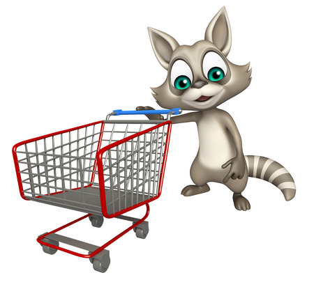 trolly: 3d rendered illustration of Raccoon cartoon character with trolly