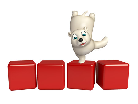 hunny: 3d rendered illustration of Polar bear cartoon character with level