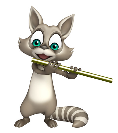 3d rendered illustration of Raccoon cartoon character with flute Фото со стока