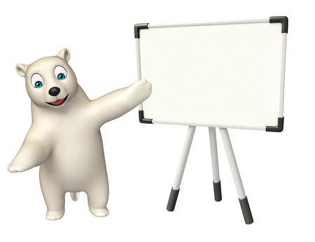 hunny: 3d rendered illustration of Polar bear cartoon character with display board