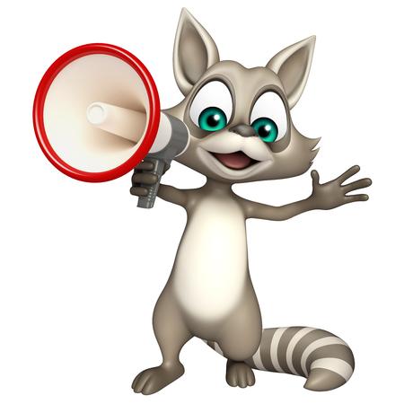 loud speaker: 3d rendered illustration of Raccoon cartoon character with loud speaker