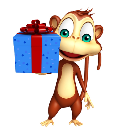 giftbox: 3d rendered illustration of Monkey cartoon character with giftbox Stock Photo