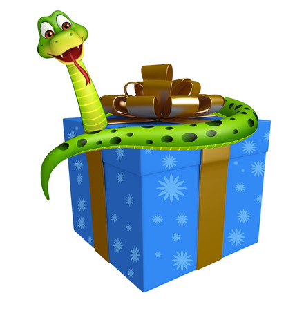 giftbox: 3d rendered illustration of Snake cartoon character with giftbox Stock Photo
