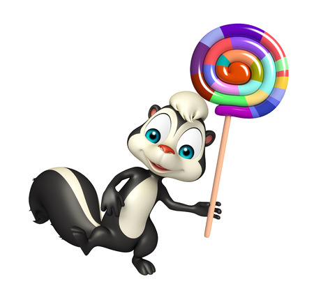 lollypop: 3d rendered illustration of Skunk cartoon character with lollypop