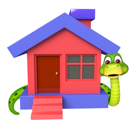 cute house: 3d rendered illustration of Snake cartoon character with home