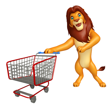3d lion: 3d rendered illustration of Lion cartoon character with trolly Stock Photo