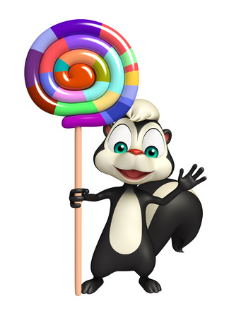 mofeta: 3d rindió la ilustración de personaje de dibujos animados de la mofeta con caramelo con palo Foto de archivo