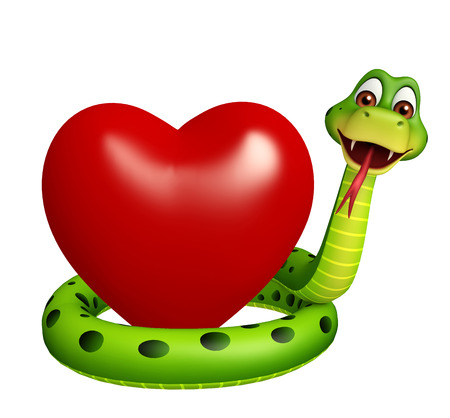 3d snake: 3d rendered illustration of Snake cartoon character with heart