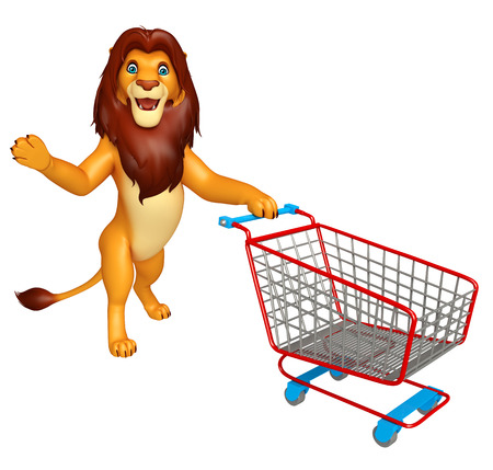 trolly: 3d rendered illustration of Lion cartoon character with trolly Stock Photo