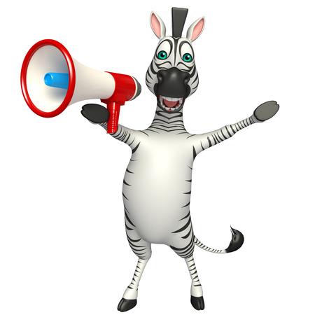 loud speaker: 3d rendered illustration of Zebra cartoon character with loud speaker