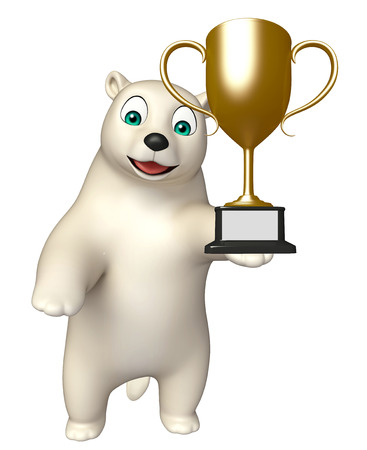hunny: 3d rendered illustration of Polar bear cartoon character with winning cup